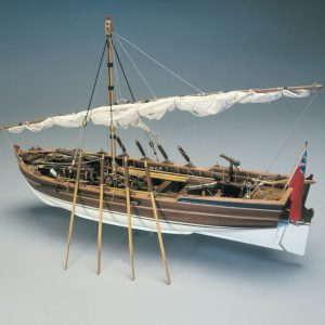 Walnut or lime planking, wooden masts and spars, brass and walnut