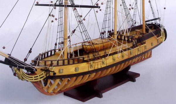 2097-12868-USS-Rattlesnake-Ship-Model-with-Frame-Hull