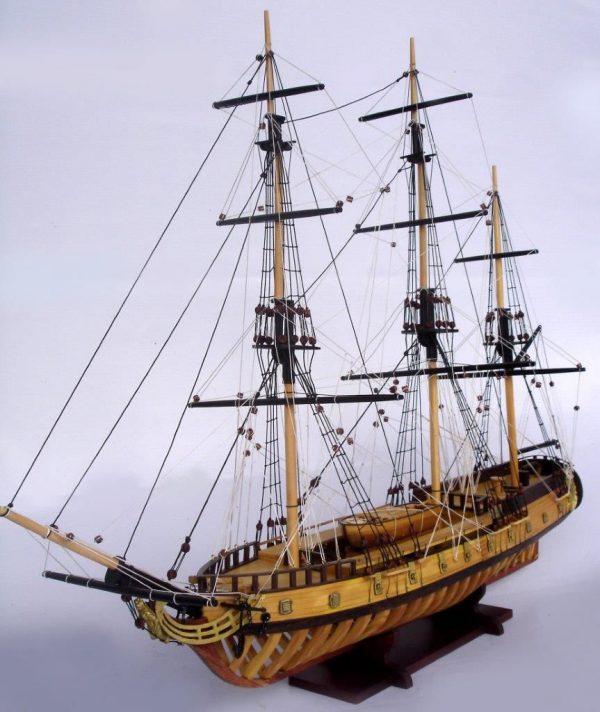 2097-12864-USS-Rattlesnake-Ship-Model-with-Frame-Hull