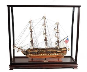USS Constitution Large With Table Top Display Case - OMH