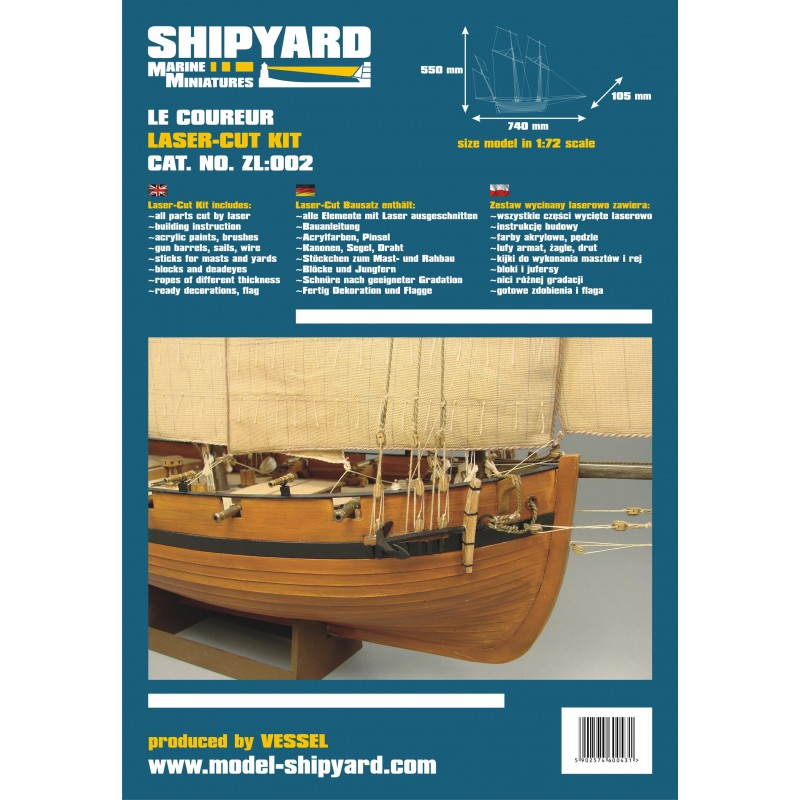 HMS Alert 1777 Model Boat Kit - Shipyard (ZL001)
